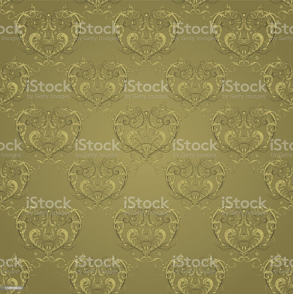 Vintage wallpaper with seamless floral pattern on the green background royalty-free stock vector art