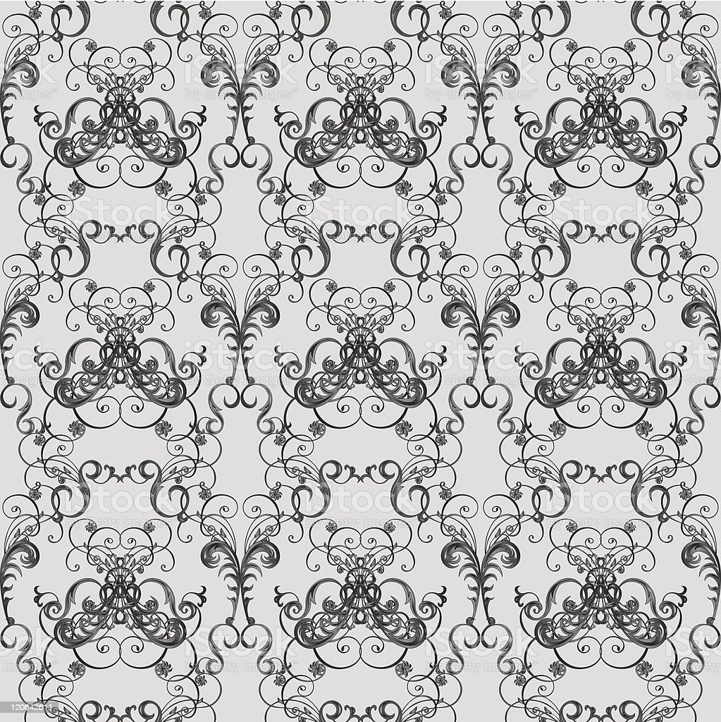 Vintage wallpaper with seamless floral pattern on white background royalty-free stock vector art