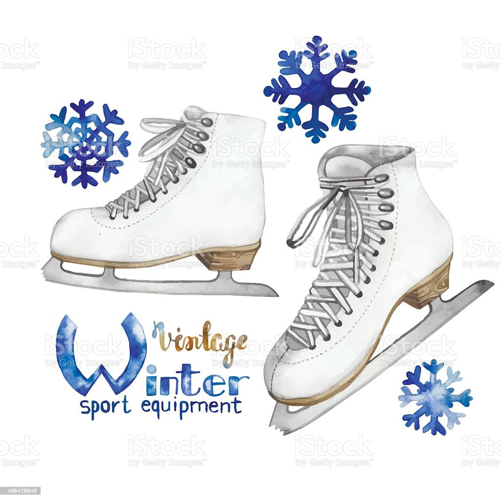 Vintage watercolor ice skates vector art illustration