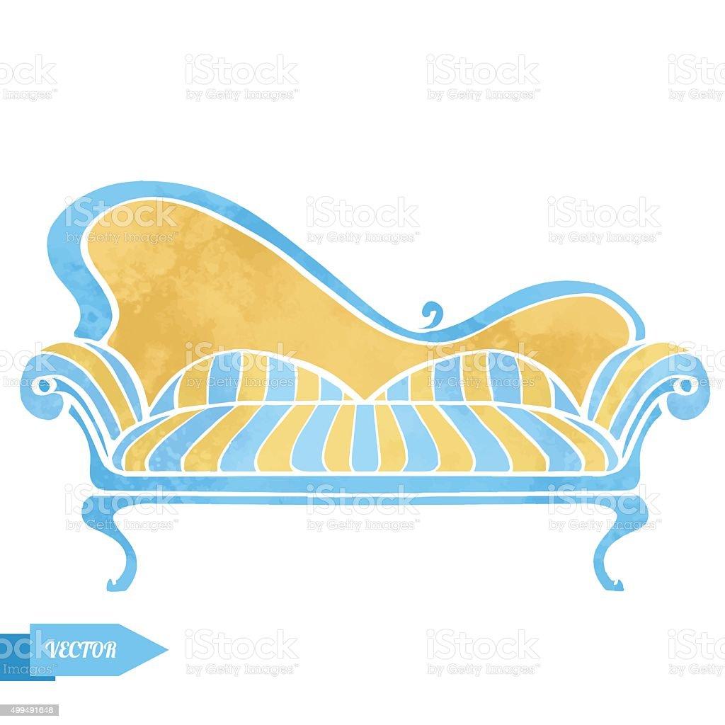Vintage watercolor sofa vector art illustration