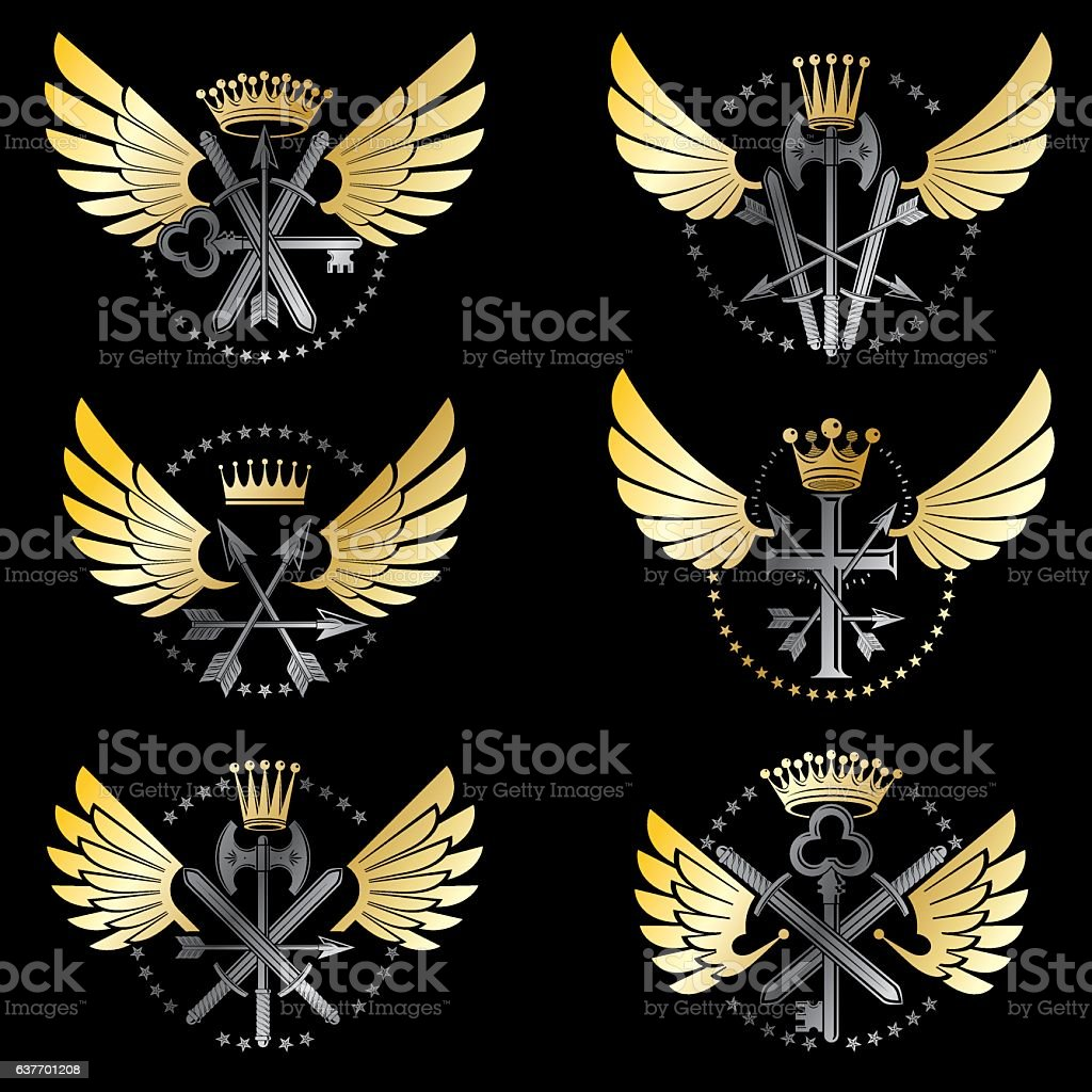Vintage Weapon Emblems set. Heraldic coat of arms decorative emblems vector art illustration