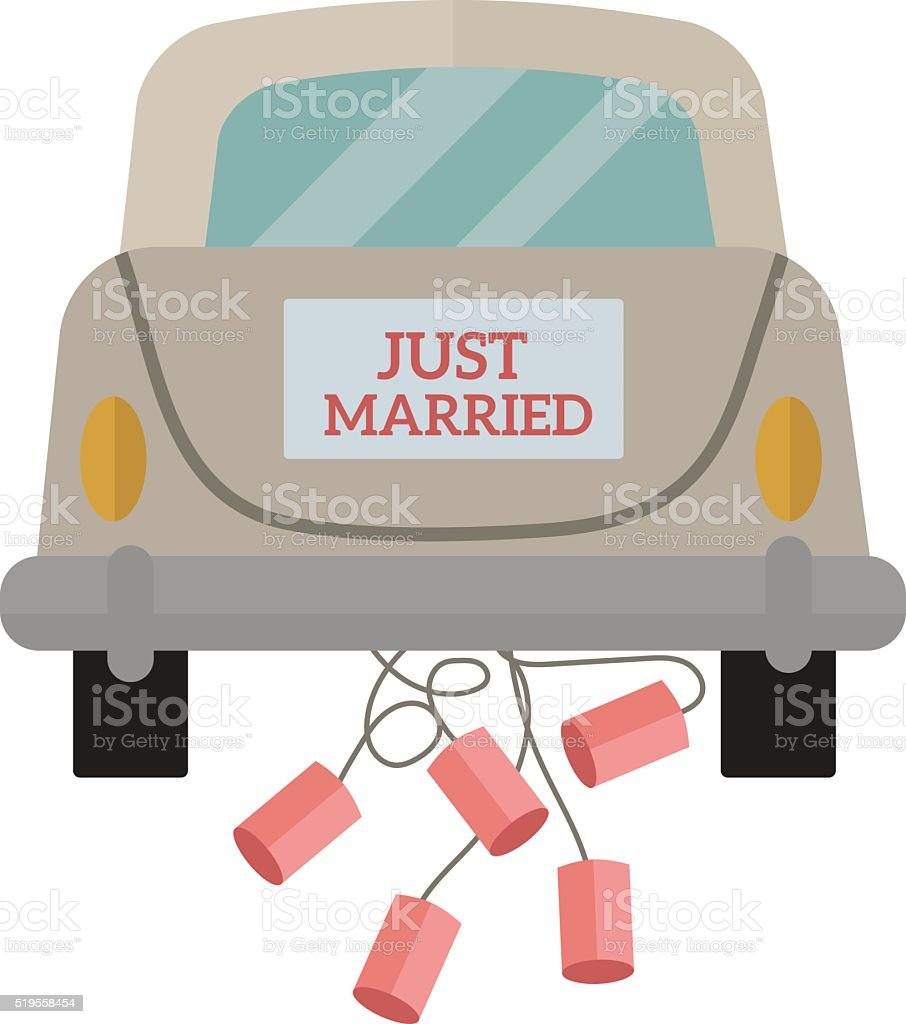 Vintage wedding car with just married sign and cans attached vector art illustration