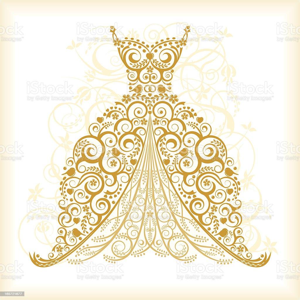 Wedding Gown Illustrations: Vintage Wedding Dress Stock Vector Art 165721677