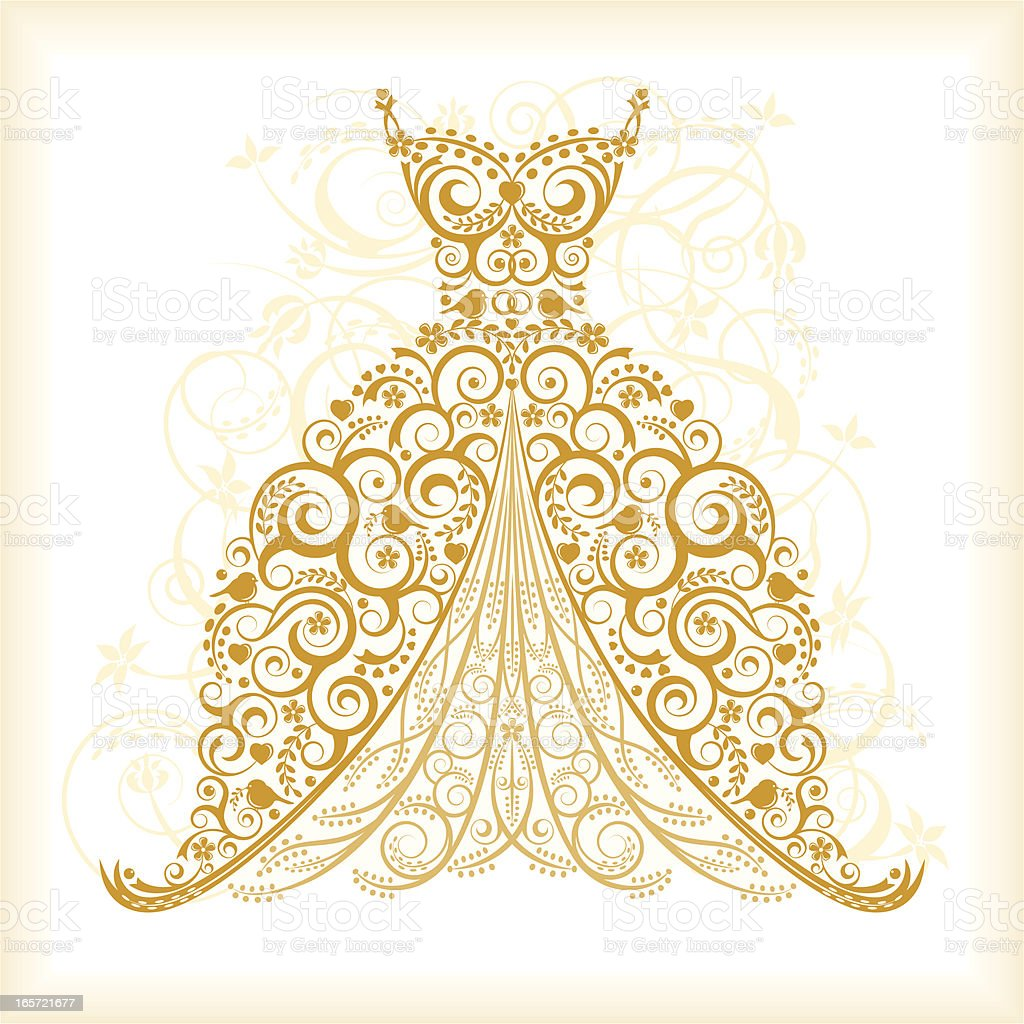 Vintage Wedding Dress vector art illustration