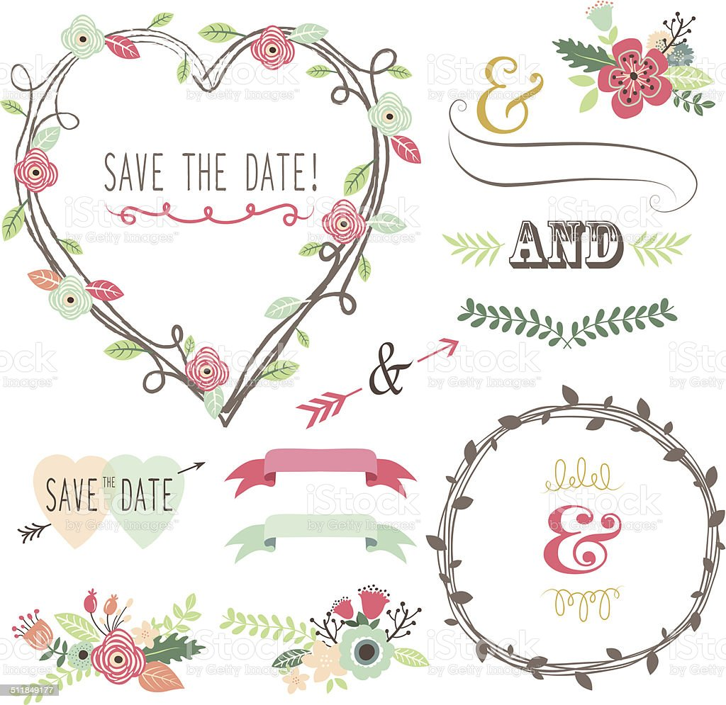 Vintage Wedding Flora Heart Shape- illustrationlements- illustration vector art illustration