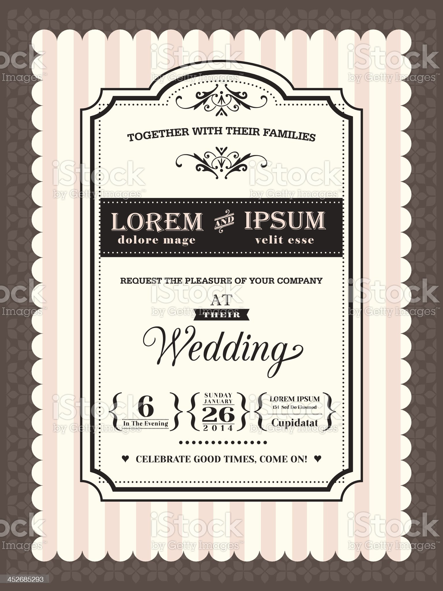 Vintage Wedding invitation border and frame template royalty-free stock vector art