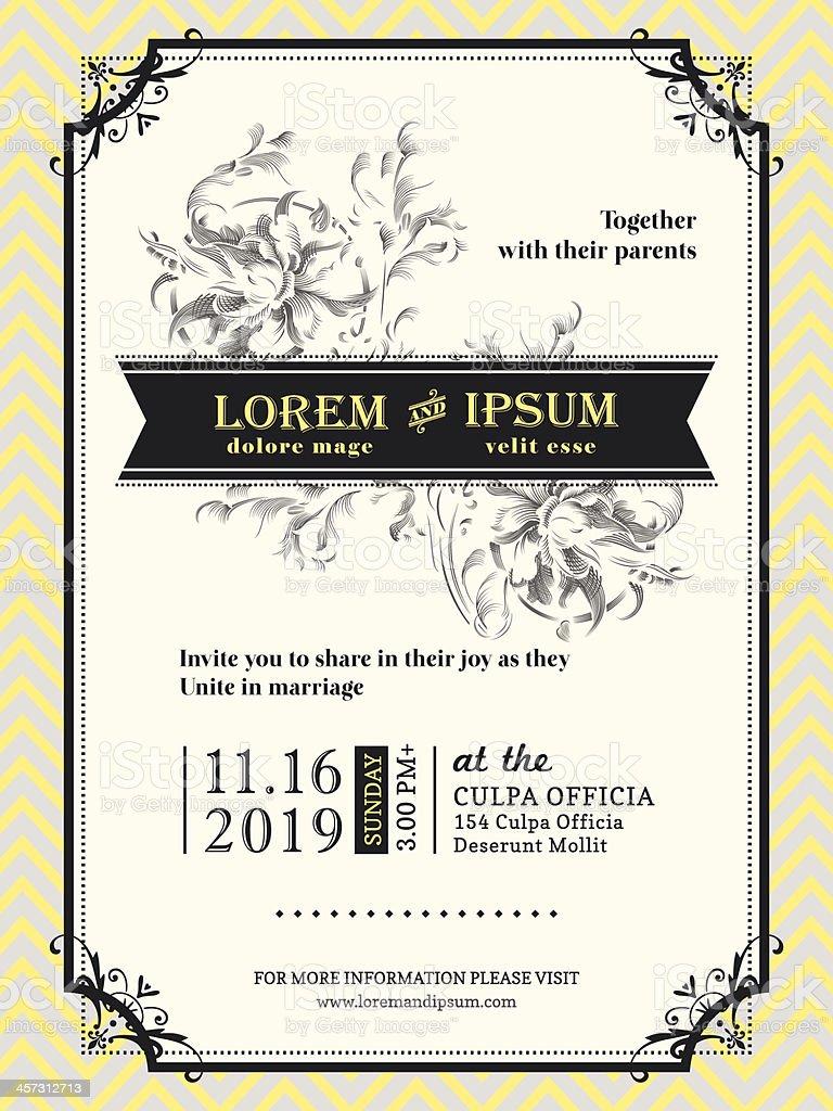 Vintage Wedding invitation border and frame template vector art illustration