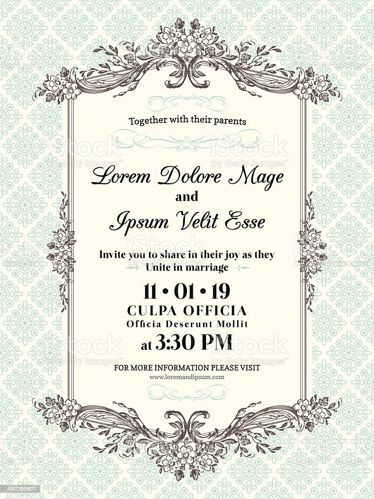 Vintage Wedding invitation border and frame vector art illustration