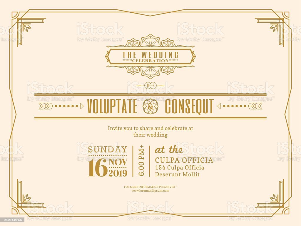 Vintage Wedding invitation card border and frame template vector art illustration