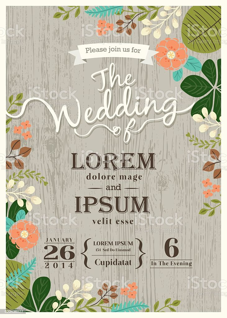 Vintage wedding invitation card with cute flourish background vector art illustration