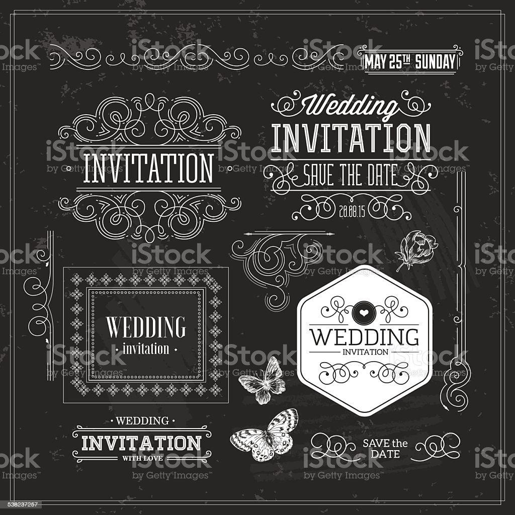 Vintage Wedding invitation design kit. Elements, ornaments, badges, Vector illustration-01 vector art illustration