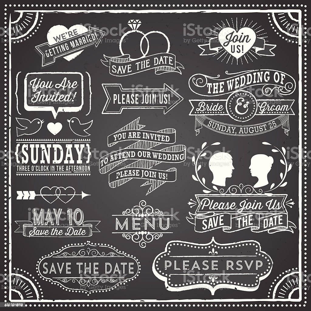 Vintage wedding invitation elements on chalkboard vector art illustration
