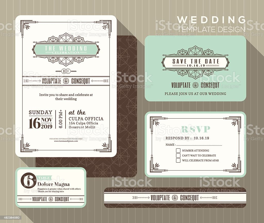 Vintage wedding invitation set design Template vector art illustration