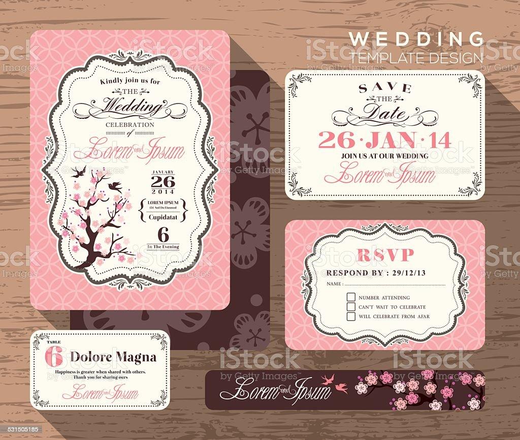 Vintage wedding invitation set design Template vector art illustration