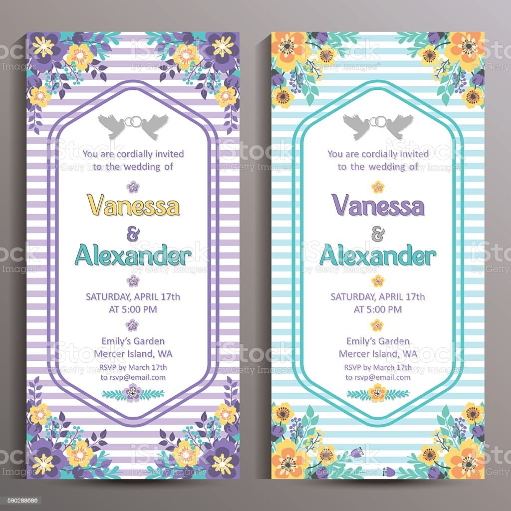 Vintage Wedding Invitation. Set of two Floral tall cards vector art illustration