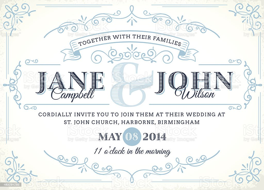 Vintage Wedding Invitation vector art illustration