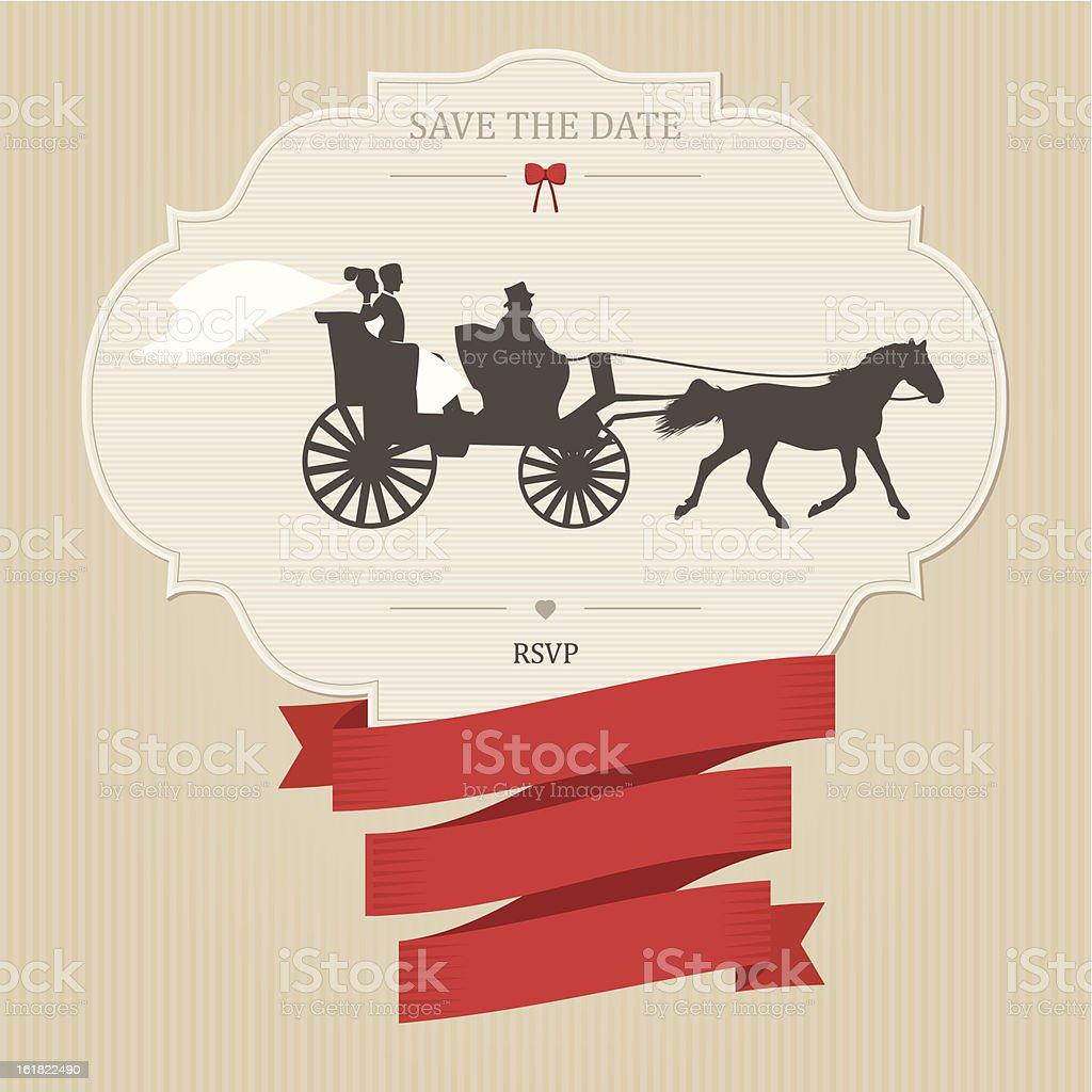 Vintage wedding invitation with retro carriage vector art illustration