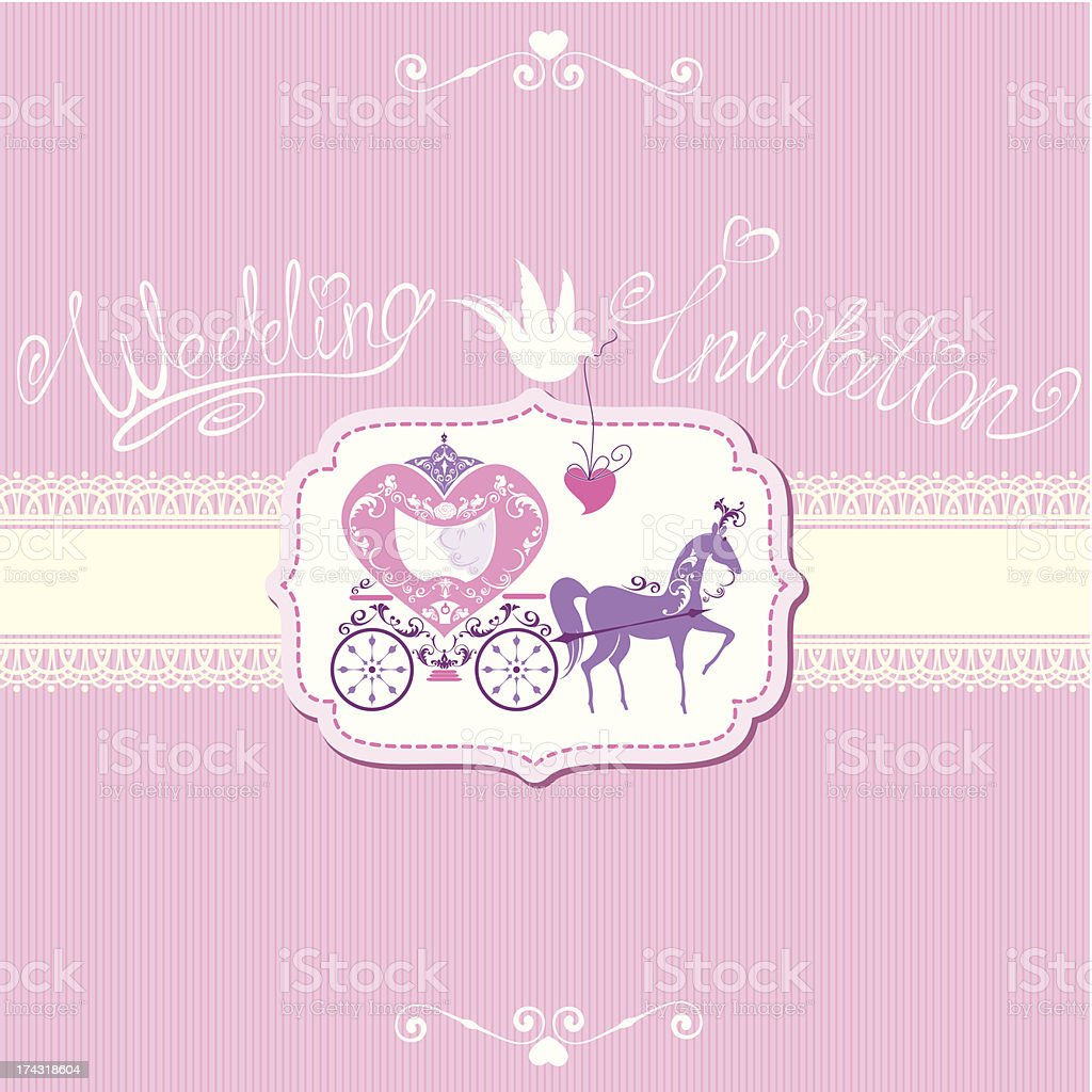Vintage wedding invitation with retro horse carriage royalty-free stock vector art
