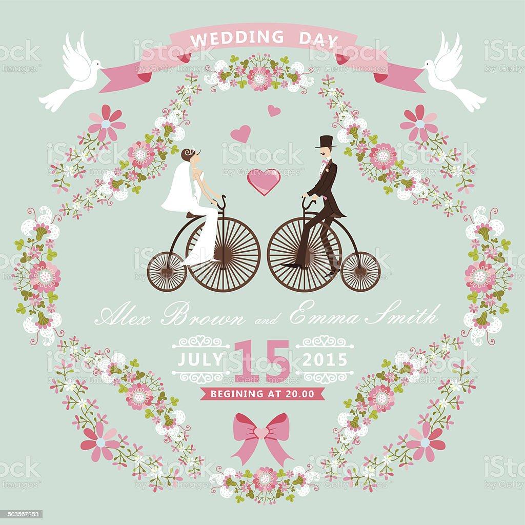 Vintage wedding invitation.Floral frame, Bride, groom,retro bike vector art illustration