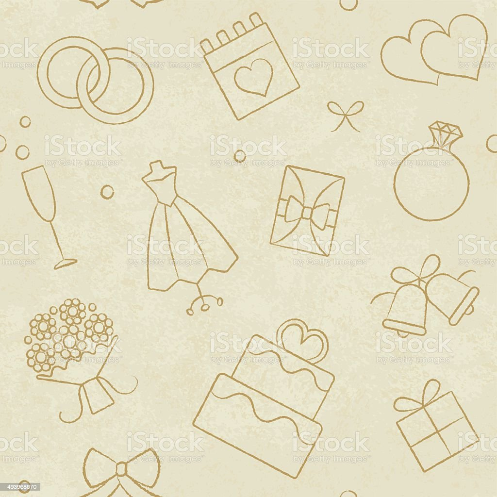 Vintage Wedding Related Seamless Pattern On Paper Textured