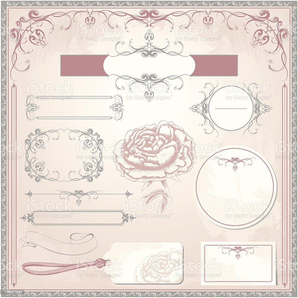 Vintage wedding set royalty-free stock vector art