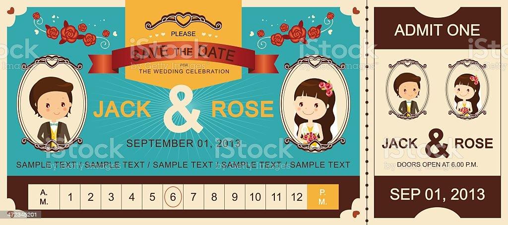 Vintage Wedding Ticket Invitation royalty-free stock vector art