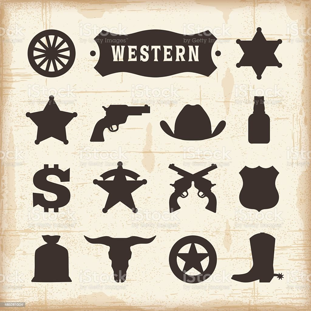 Vintage Western Icons Set vector art illustration