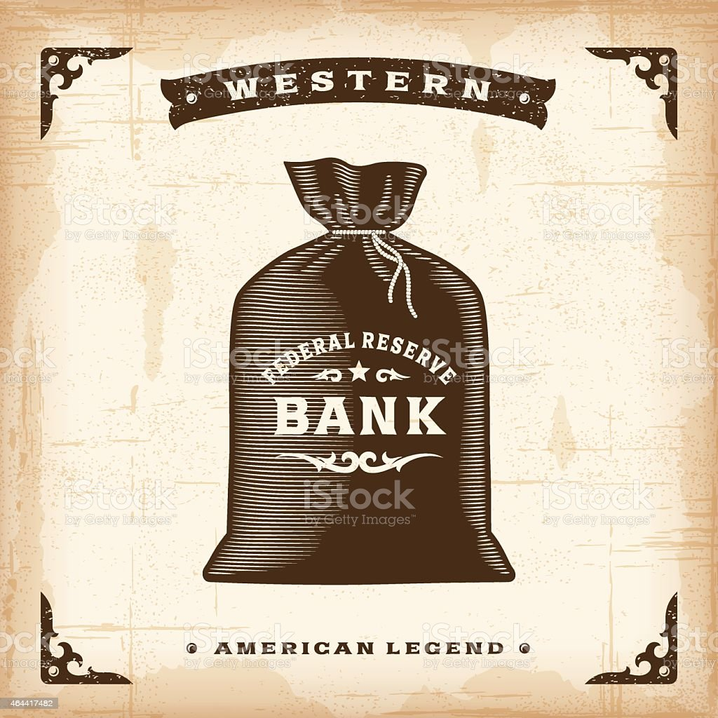 Vintage Western Money Bag vector art illustration
