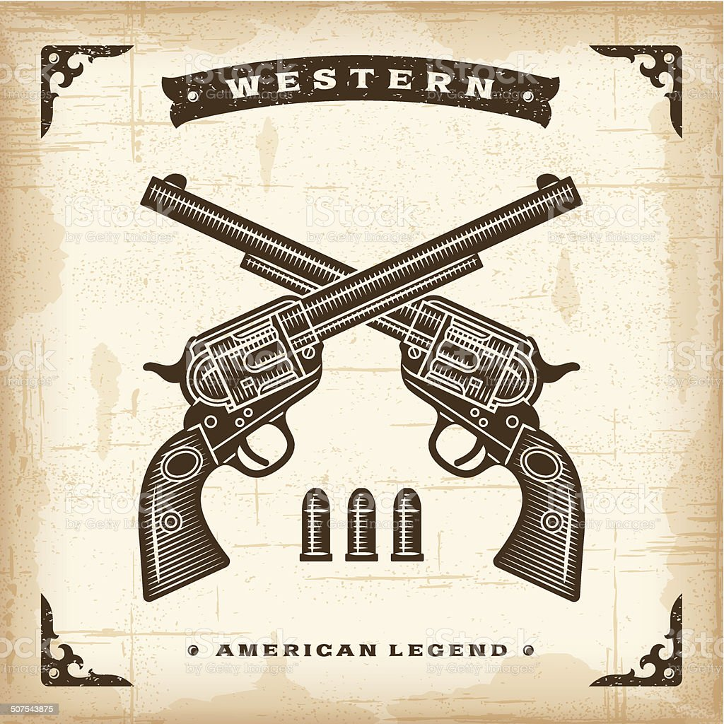 Vintage Western Revolvers vector art illustration