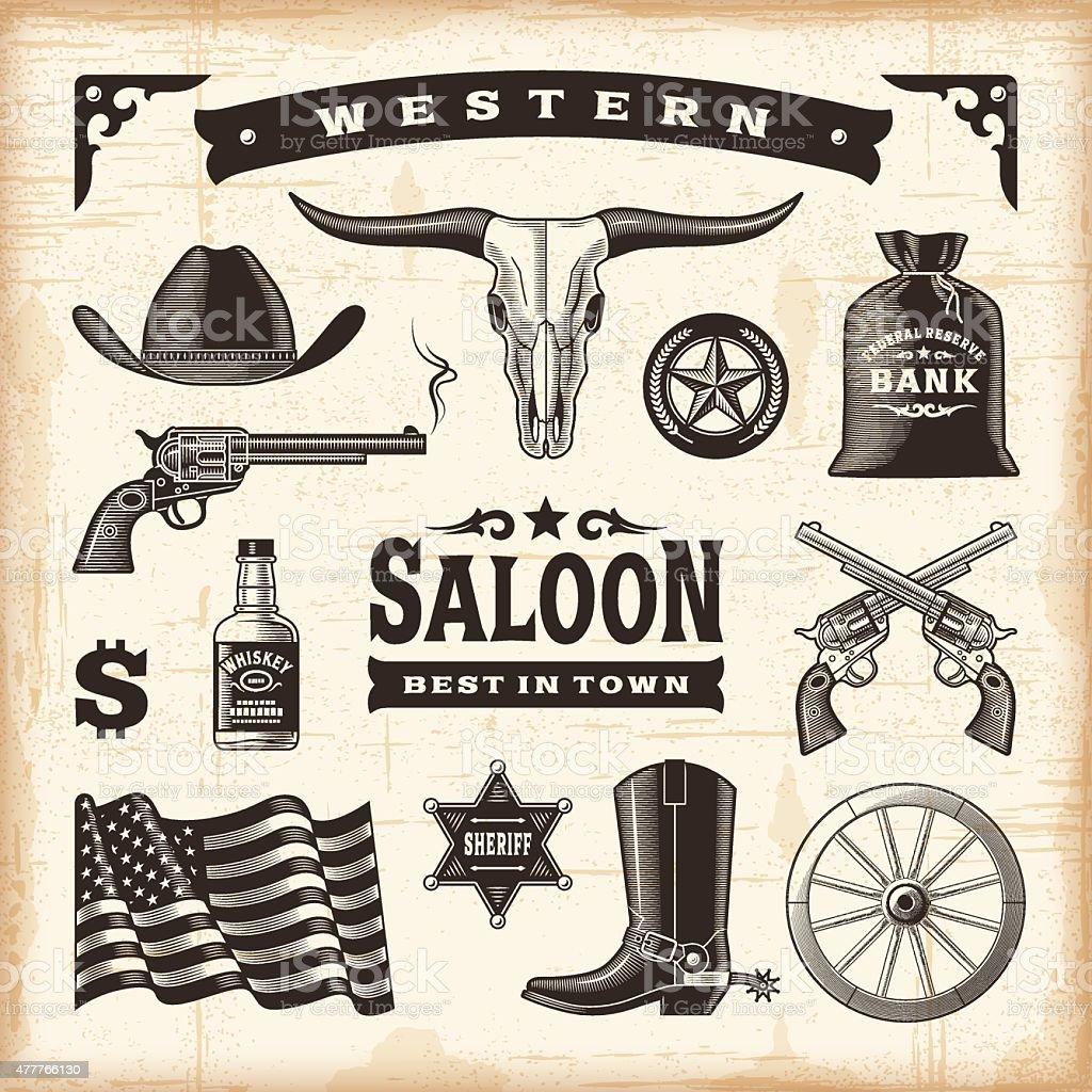 Vintage Western Set vector art illustration