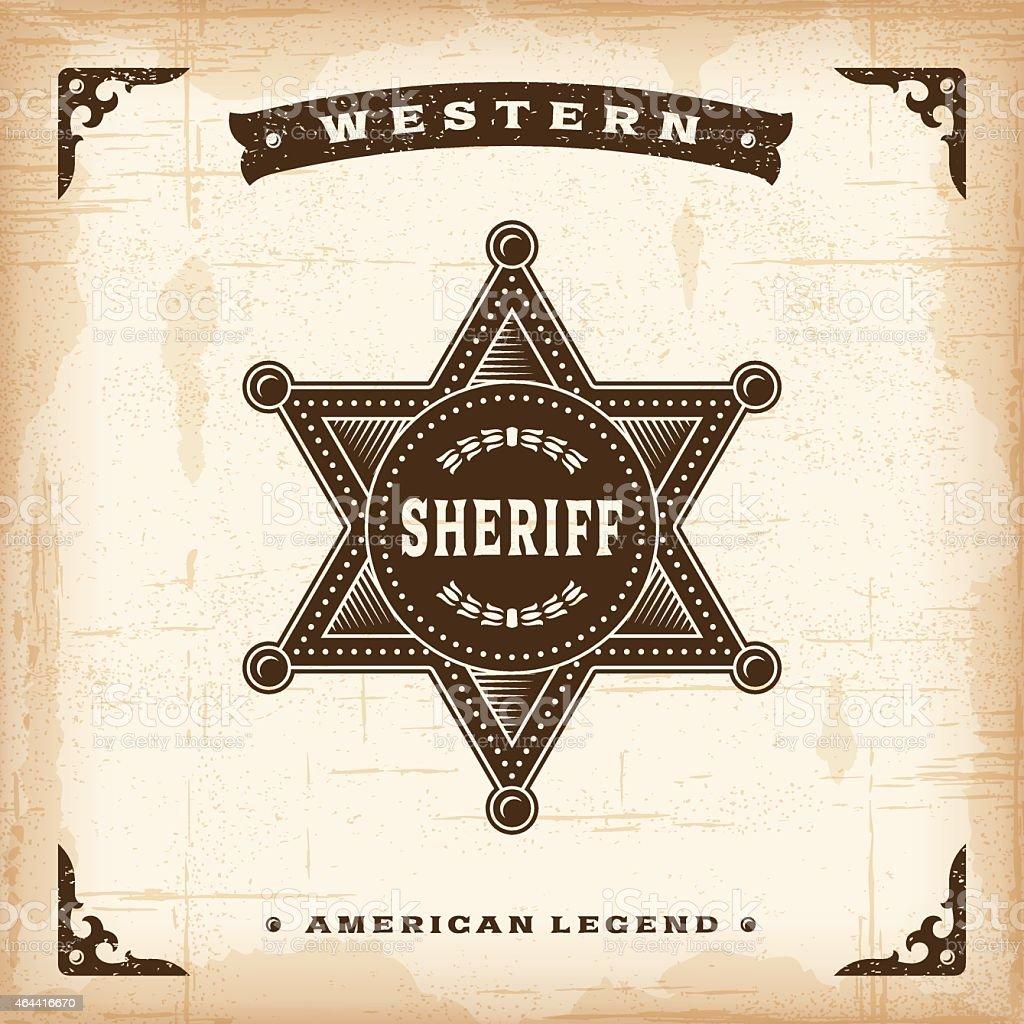Vintage Western Sheriff Badge vector art illustration