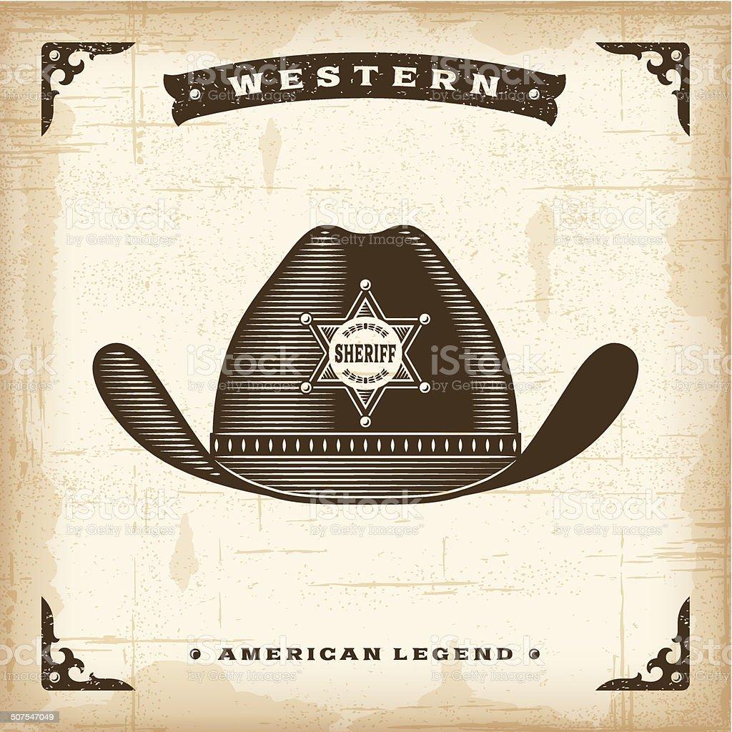 Vintage Western Sheriff Hat vector art illustration