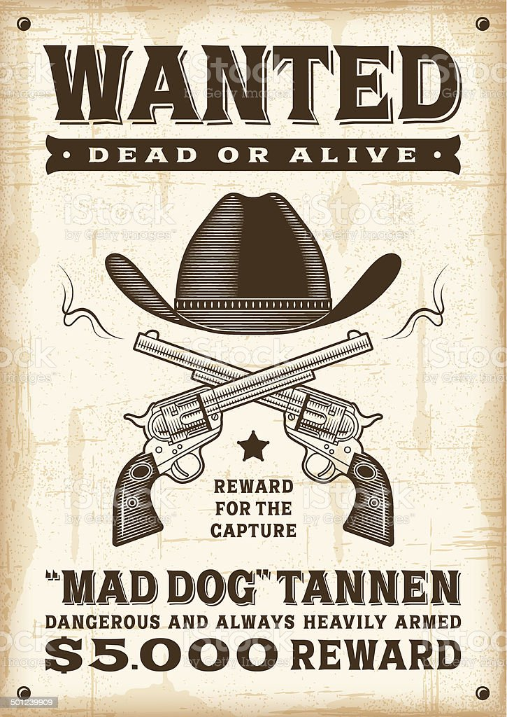 Vintage western wanted poster vector art illustration
