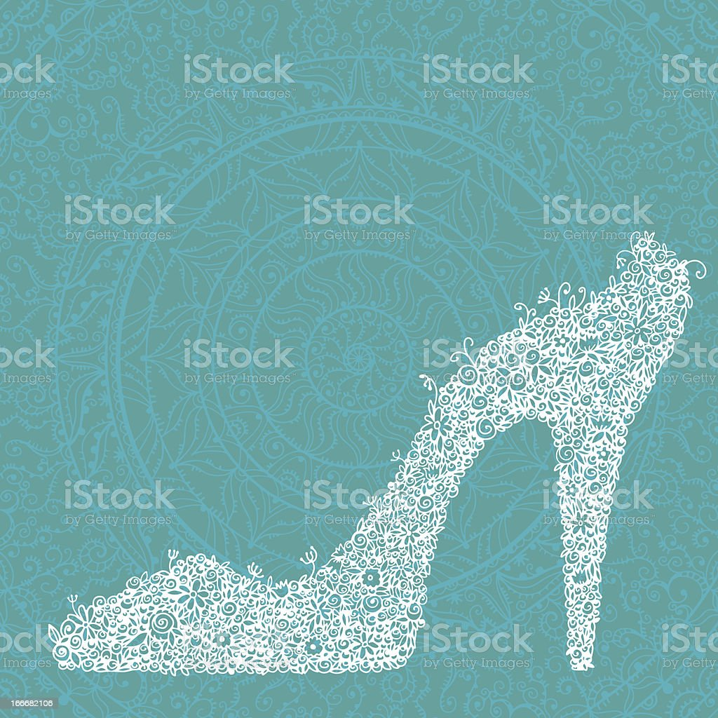 Vintage white floral shoes on green lace background royalty-free stock vector art
