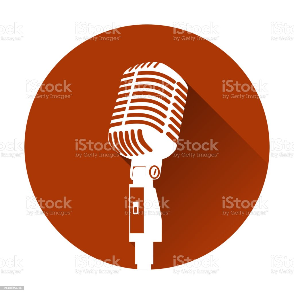 Vintage white silhouette retro stage microphone vector art illustration