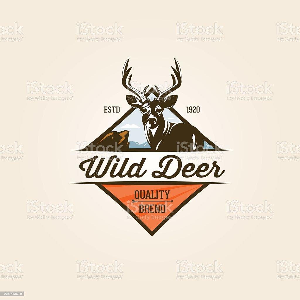 Vintage wild nature label vector art illustration