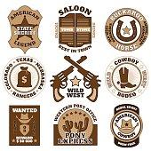 Vintage wild west badges on white background