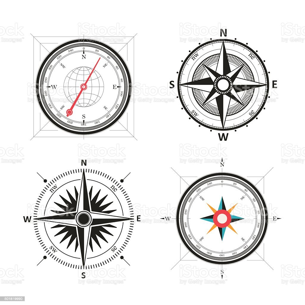 Vintage wind rose compasses in set. Isolated vector compass vector art illustration
