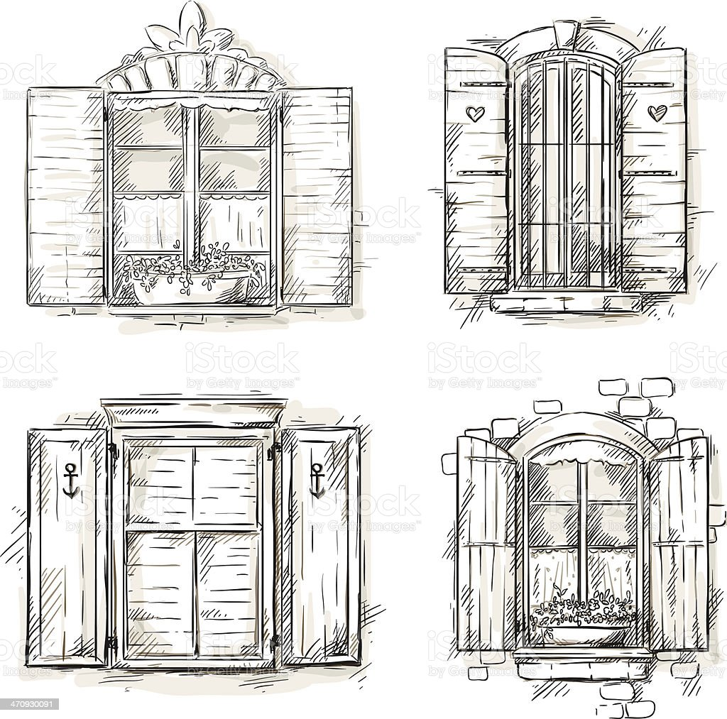 Vintage Window Hand Drawn Set Of Vector Drawings Stock