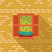 Vintage window on the brick wall