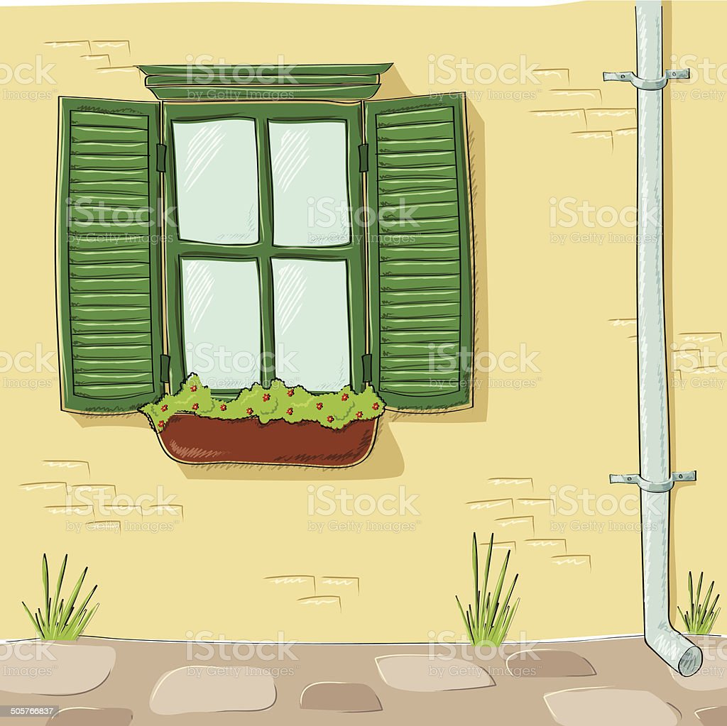 Vintage window with shutters vector art illustration