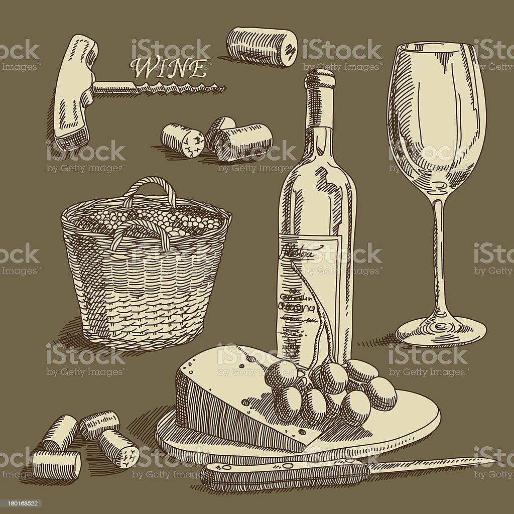 Vintage wine collection royalty-free stock vector art