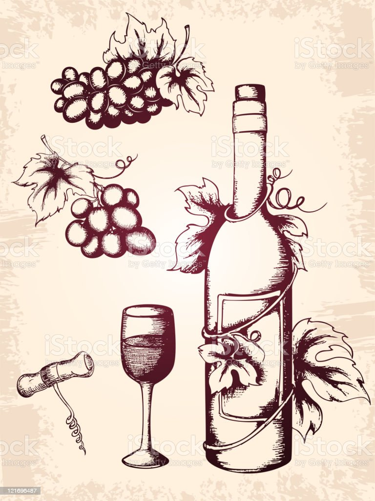 vintage wine icons royalty-free stock vector art