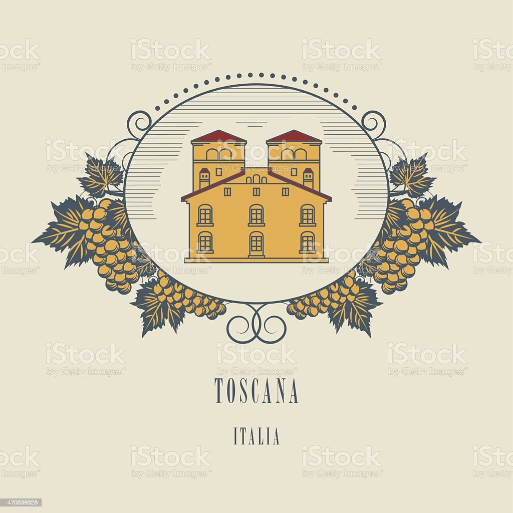 Vintage wine label vector art illustration