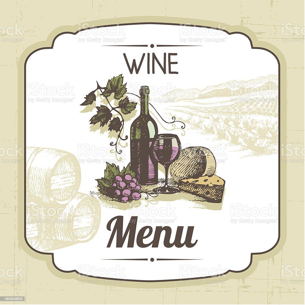 Vintage wine menu background vector art illustration