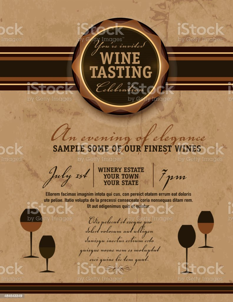 Vintage wine tasting invitation template design vector art illustration