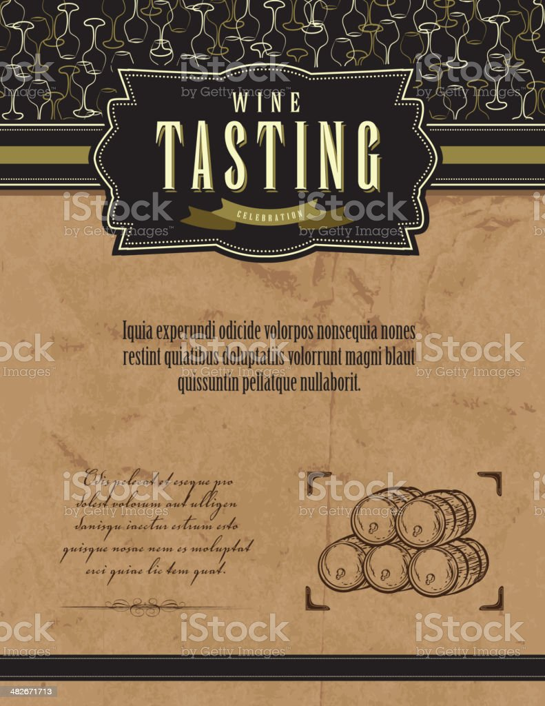 Vintage wine tasting invitation template design with barrels and glasses vector art illustration