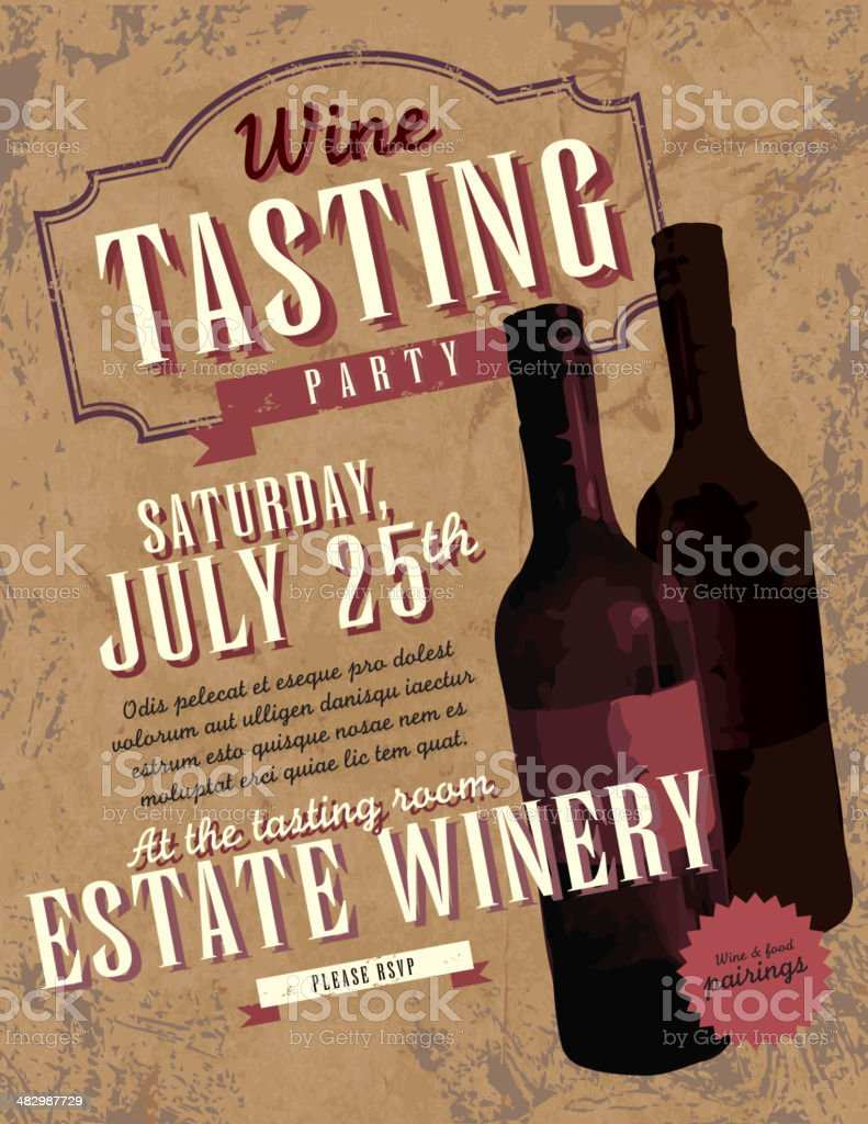 Vintage Wine tasting party invitation design template royalty-free stock vector art