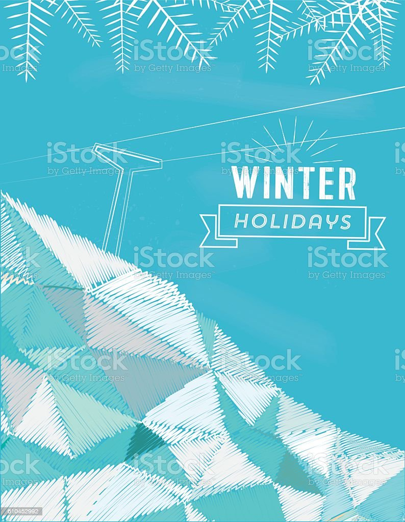 vintage winter line illustration on snowy scribbled  landscape vector art illustration