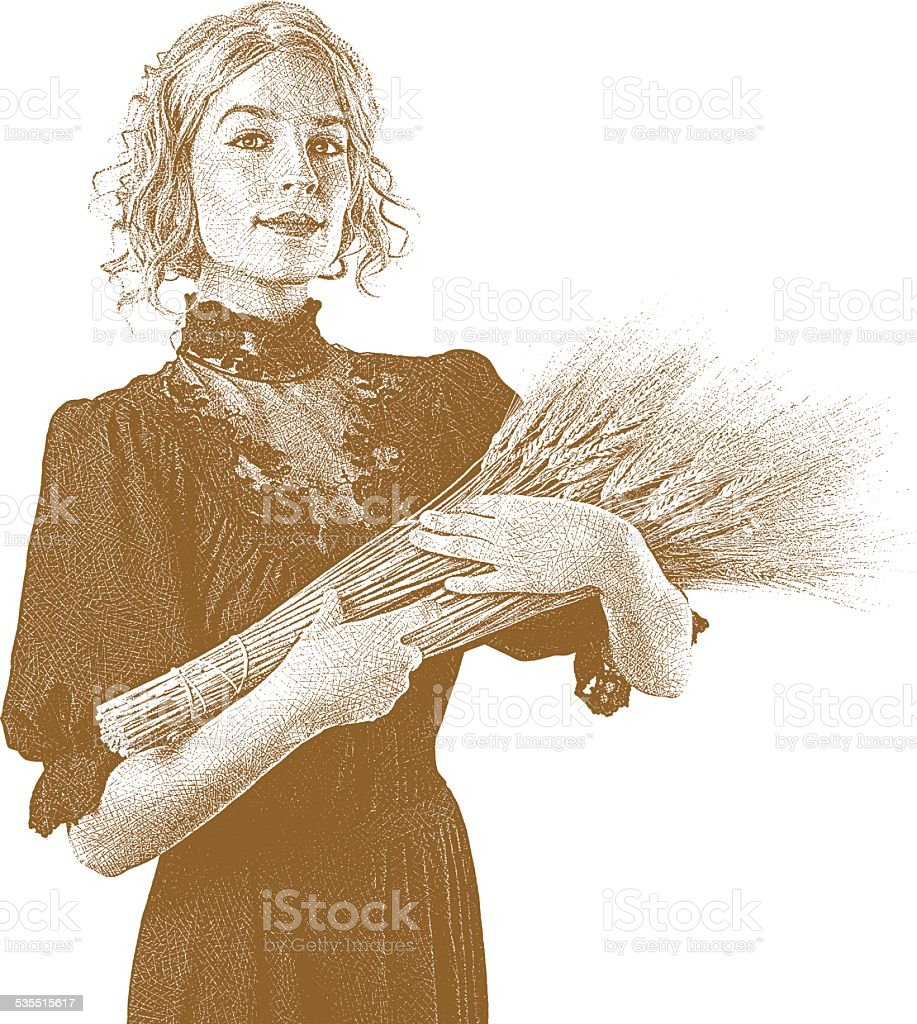 Vintage Woman Holding Wheat Bundle. Sepia vector art illustration